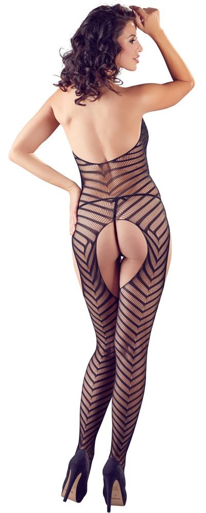 Gestreept netstof catsuit met string, achterkant