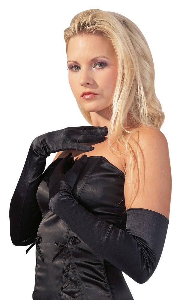 Lange Zwarte Satijnen Handschoenen