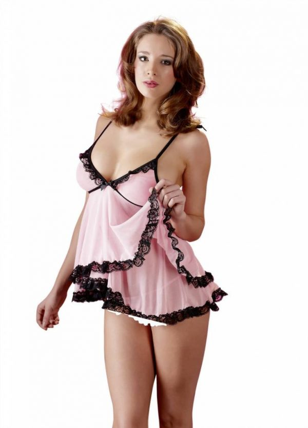 Roze babydoll met string