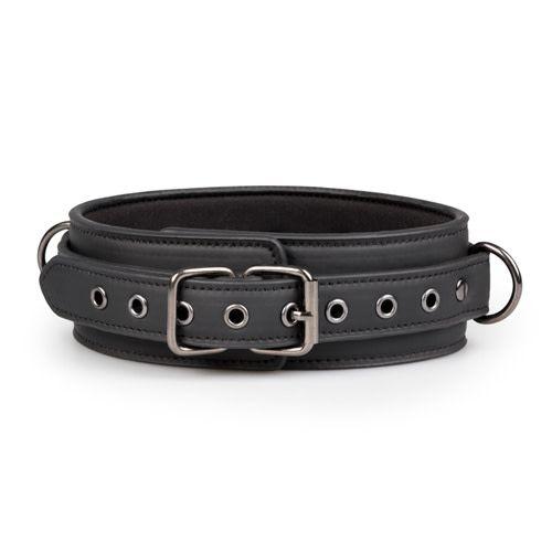 Zwart leren halsband met riem