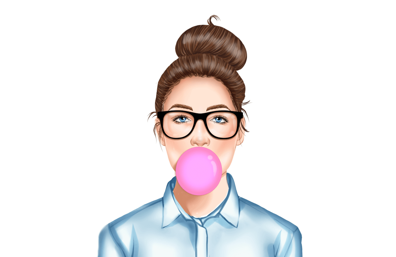 Illustration of a brunette with glasses blowing bubbelgum